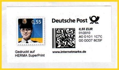 Eine Internetmarke, die einen vergleichbaren Postmatrixcode hat wie die Responsepluskarten und die neue dm-Marke