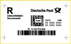 Die erste Variante, integrierter Strichcode unter dem Postmatrixcode