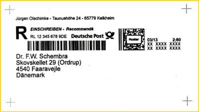 Die zweite Variante mit Absender und Empfänger, hier ist der Strichcode neben dem Postmatrixcode integriert