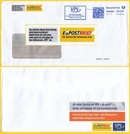 Vorder- und Rückseite eines Briefes mit zusätzlich farbig dazugedruckter ePostwerbung von VPV