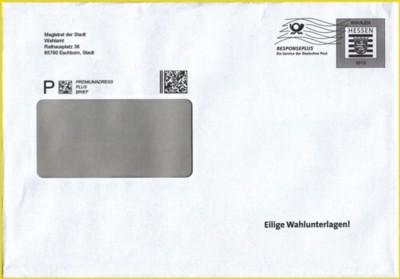 """Spezieller Wahlumschlag """"Responseplus"""" vom Land Hessen für alle Orte in Hessen gültig auch zum Versand ins Ausland!"""