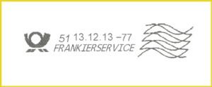"""Stempelabruck """"Frankierservice"""" für vollbezahlte Sendungen vom BZ 51 aus der Versuchsphase - Abbildung stammt von den philaseiten beziehungsweise der Arbeitsgemeinschaft Post- und Absenderfreistempel"""
