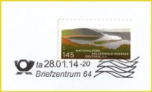 Briefausschnitt einer Großbriefsendung - hier wurde die Briefmarke mit der richtigen Stempelvariante mittels Tintenstrahldruck entwertet