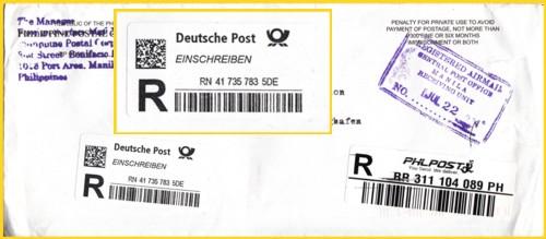 Einschreib-Postsache aus den letzten Tagen mit neuen Eingangs-Einschreiblabel im wesentlich kleineren Format