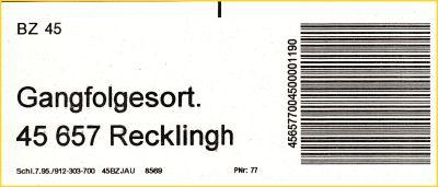 gedruckter Infoträger vom BZ 45 für die Gangfolgesortierung für 45657 Recklinghausen