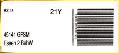 Infoträger vom BZ 45 für die Gangfolgesortierung (GFSM) für 45141 Essen 2 - Behälterwagen (BehW)