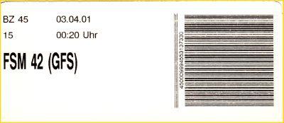 Ingoträger vom BZ 45 von der FSM (Feinsortiermaschine) Programm 42 für die folgende GFS (Gangfolgesortierung) aus der Frühzeit vom 3. April 2001