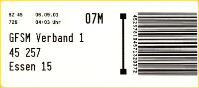 Infoträger vom BZ 45 von der Gangfolgesortiermaschine für den Verband 1 von 45257 Essen 15 vom 6. September 2001 aus der Frühzeit