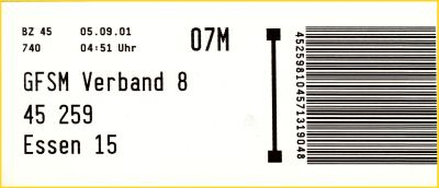 Infoträger vom BZ 45 von der Gangfolgesortiermaschine für den Verband 8 von 45257 Essen 15 vom 5. September 2001 aus der Frühzeit