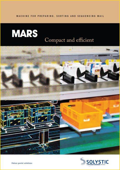 Titelseite des Firmenprospekts von Solistic zum Modell Mars - die Maschine kann für vorbereitende Tätigkeiten, die Sortierung und die Gangfolgesortierung eingesetzt werden