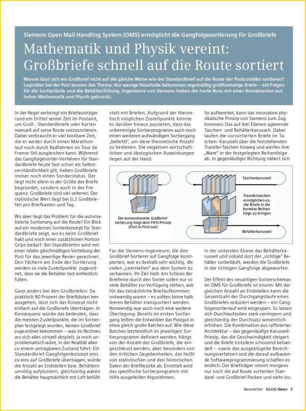 """Artikel von Siemens zur speziellen Technik der Gangfolgesortierung bei den eigenen OMS-Maschinen (bei der Deutschen Post AG als """"GSA Neu"""" bekannt)"""