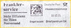Stempelabschlag mit dem neuen Stempelklischee vom Briefzentrum 04 aus der Frühzeit vom 8. März 2005