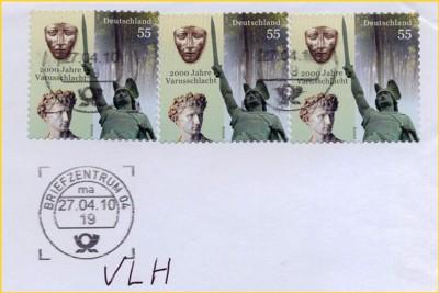 Briefausschnitt eines Briefes, der im BZ 04 mit der ersten GSA Neu entwertet wurde, die im April 2010 aufgestellt wurde