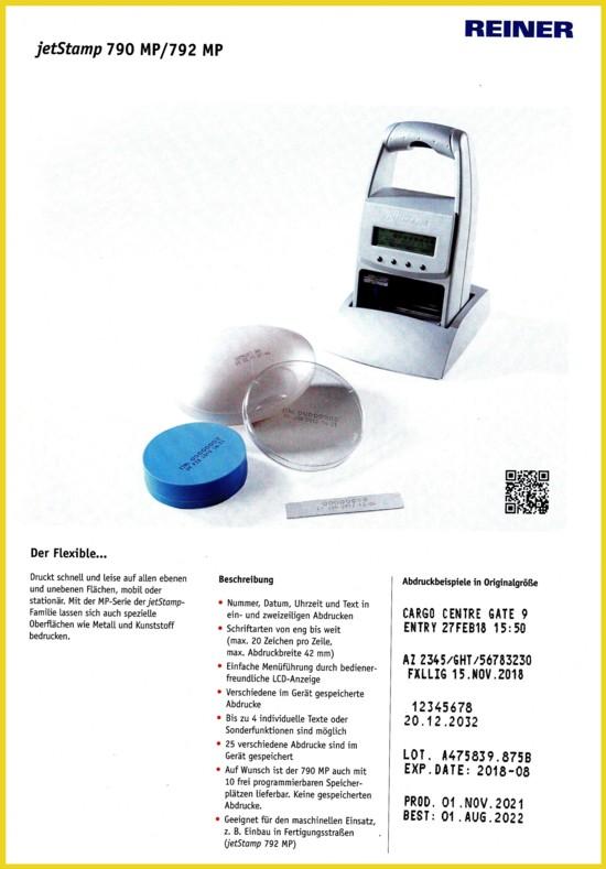 """Das Modell """"jetStamp 790 MP"""" der Firma Reiner GmbH"""