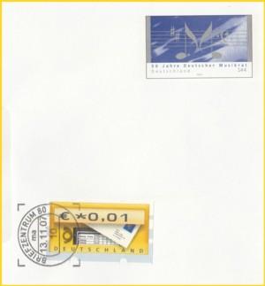 Der selbe Plusbrief wieder mit einer Ergänzungsfrankatur in Form einer ATM, diese wurde getroffen, das Plusbriefmotiv scheinbar nicht als Briefmarke erkannt ?